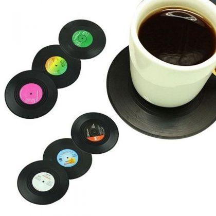 Suporturi pahare, formă disc vinil, set 6 bucăți